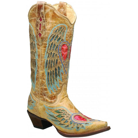 Heart Angel Wing Cowgirl Boots