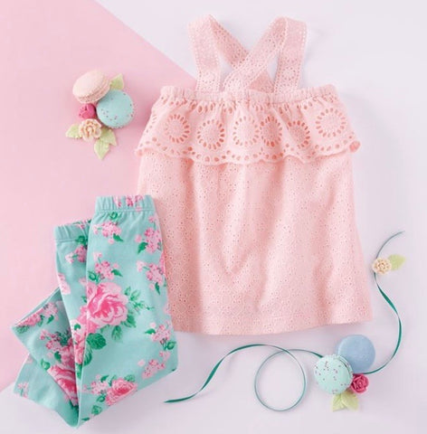 GARDEN ROSE EYELET TUNIC & CAPRI SET