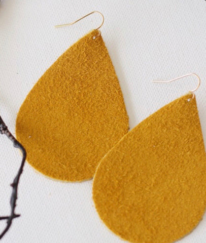 Leathered Psalm Mustard Suede Earrings