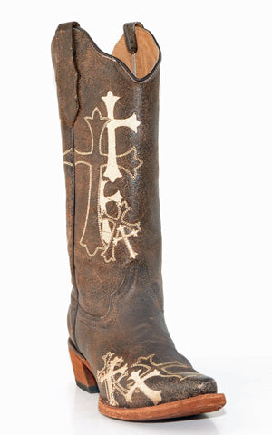 Corral Brown/Beige Cross Boots