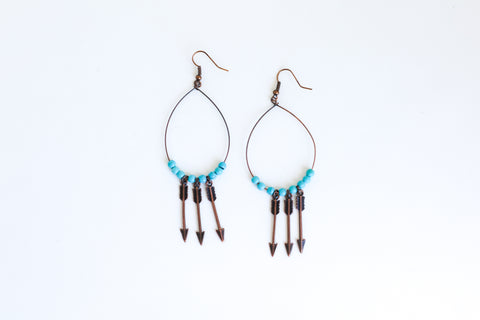 Copper Earrings with 3 Arrows