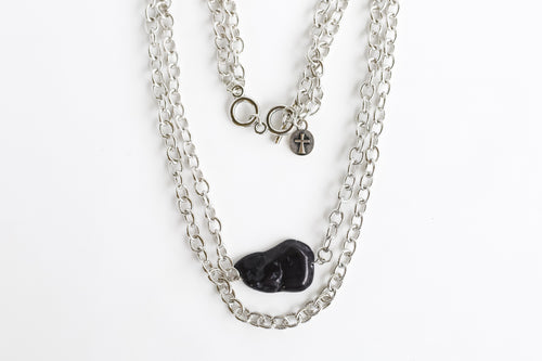 Double burnished silver chain Necklace