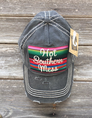 "Black ""Hot Southern Mess"" Serape Cap"