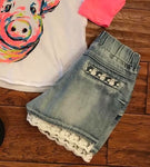 Kids Lace Denim Shorts