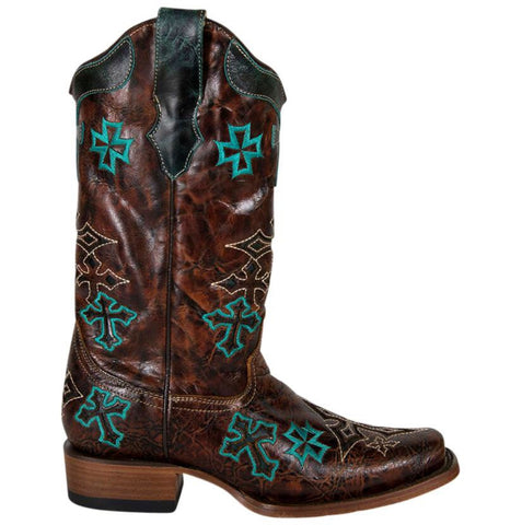 Whiskey Turquoise 3 Cross Square Toe Boots