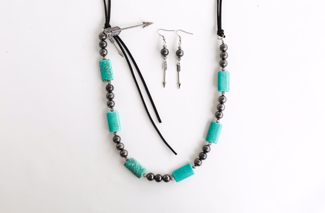 Black Leather Neck Set with Turquoise