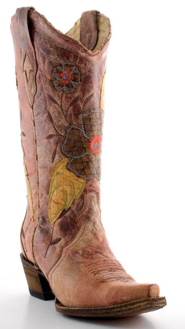 Daisy Overlay Cowgirl Boots