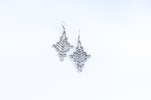 Silver Geometric Cross Earrings