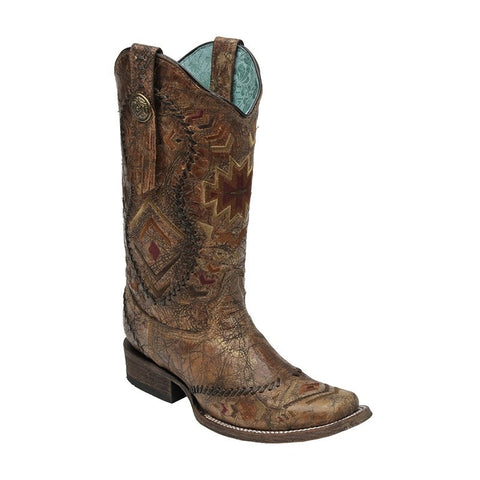 Cognac Ethnic Pattern Boot