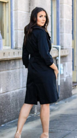 Black 3/4 Sleeve Trench Coat
