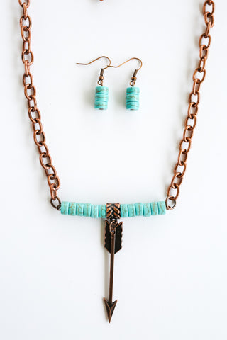 Copper Chain & Turquoise Necklace