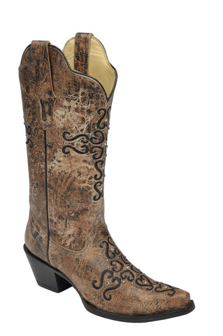Bronze & Black Embroidered Cross Snip Toe Boot