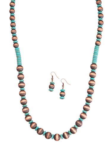 Burnished Copper and Turquoise Necklace