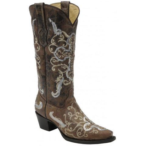 Tobacco-Beige Silver Sequin Cross Boots