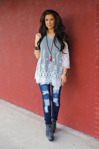 Lace Distressed Ripped Dark Wash Low Rise