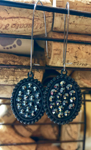 Black Glitz Drop Down Earrings
