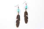Copper Feather with Turquoise Earrings