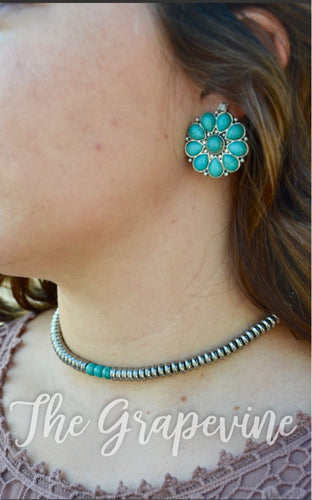 Silver & Turquoise Flower Earrings