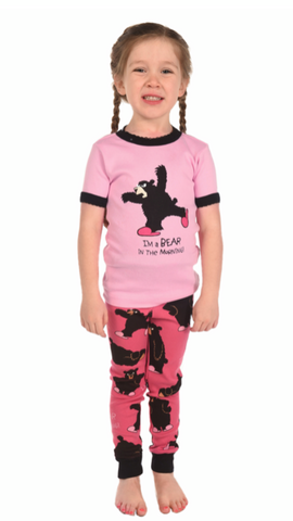 Bear in the Morning Girl Kid PJ Set