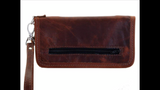 Ladies Zipper Wallet -Axis Hair- Brandy Pull Up Trim & Wristlet LZW06