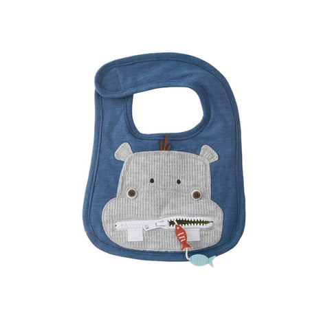 Hippo Zipper Mouth Baby Bib