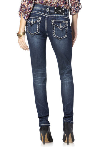 Scalloped Edge Big Stitch Relaxed Skinny Jeans