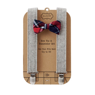 Mud Pie Holiday Best Red Plaid Bow Tie Gray Tweed Suspender Set