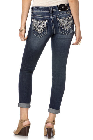 Waterfall Bouquet Cuffed Skinny Jeans