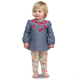 Chambray Floral Embroidered Tunic & Legging Set by Mud Pie