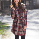 Bale Flannel Shirt Dress Burgundy