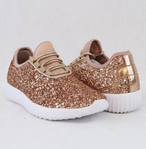 Glitter Bomb Sneakers in Rose Gold