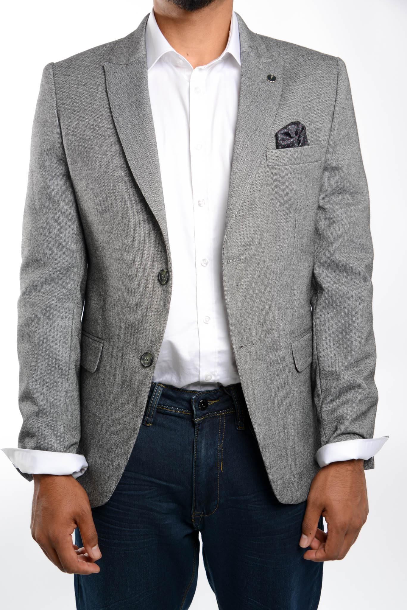 Euro Herringbone Blazer - Haight & Ashbury