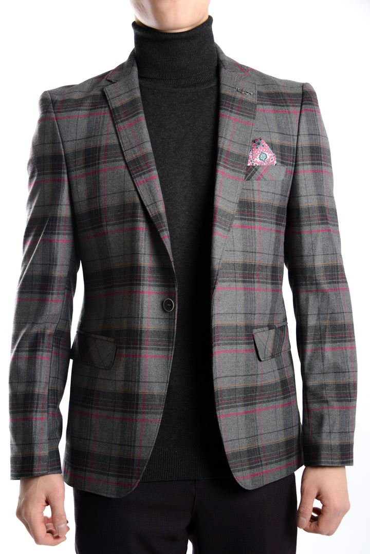 Euro Plaid Blazer