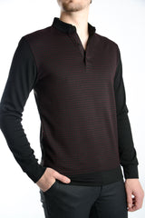 Long Sleeve Two Tone Check Jacquard Polo