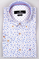 Short Sleeve Linen Print Shirt