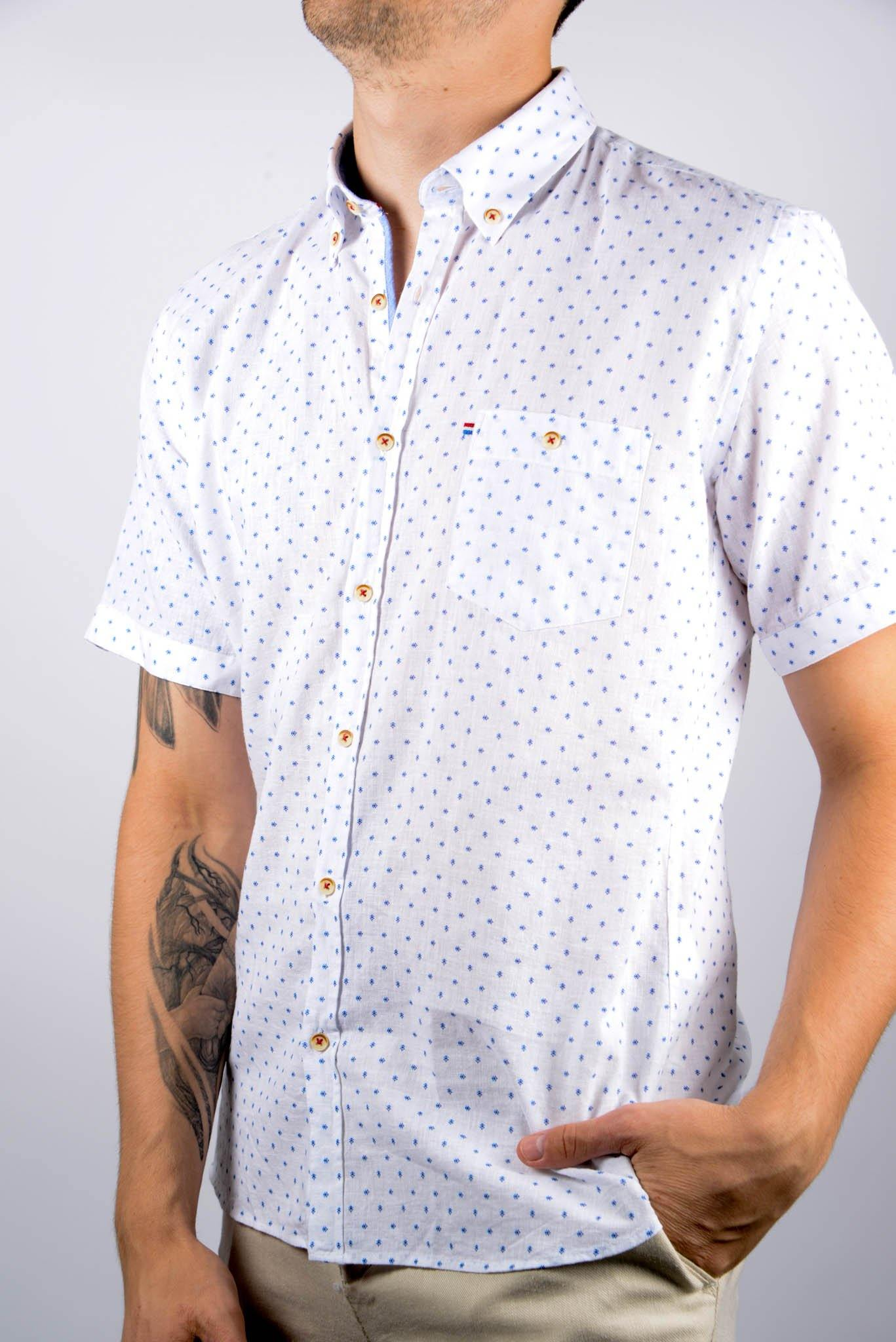 Short Sleeve Linen Print Shirt - Haight & Ashbury