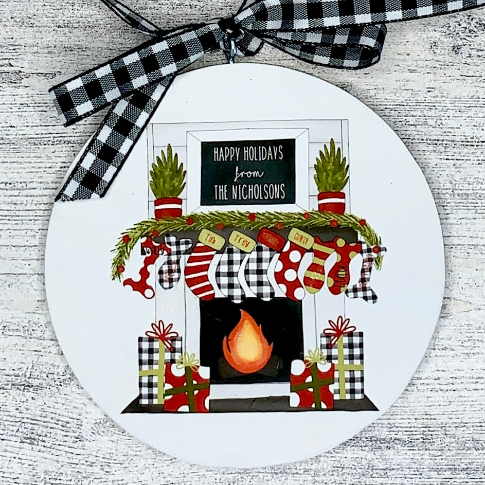Family Fireplace  Wooden Ornament