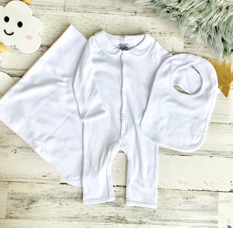 Pima Cotton White Stitch Layette