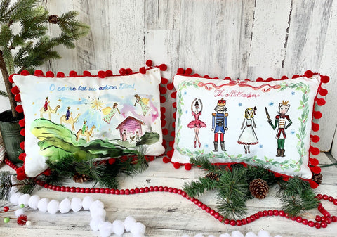 watercolor Christmas pillows, nutcracker, nativity