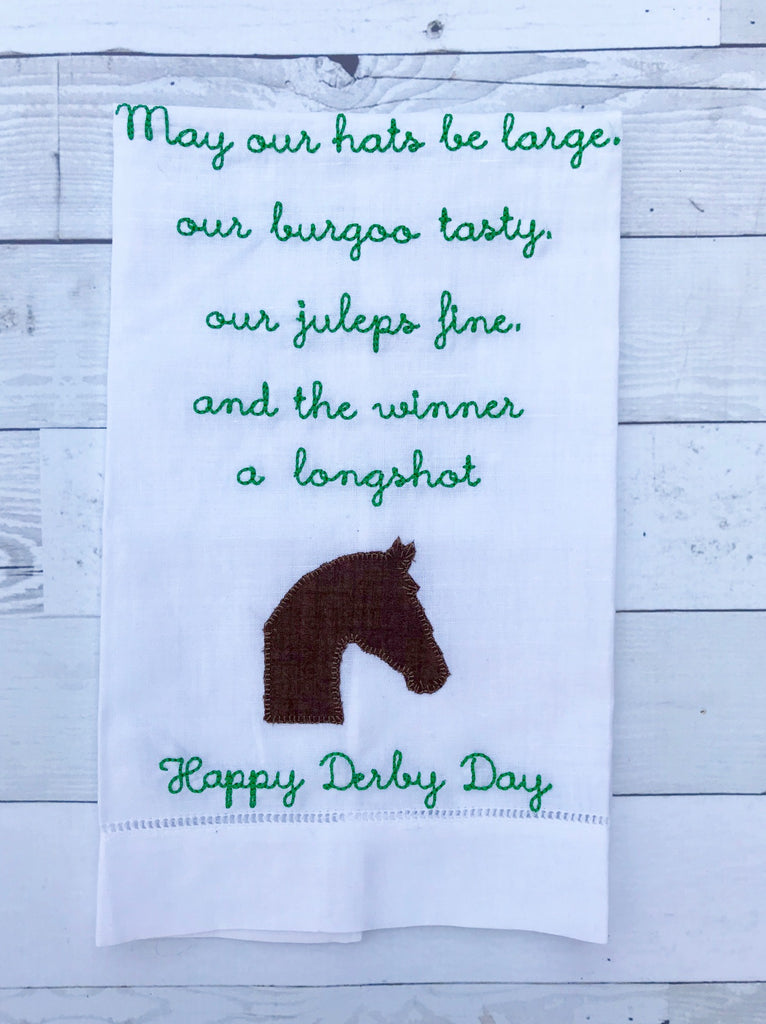 Derby Blessing on White Hemstitched Guest Towel