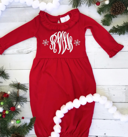 Christmas Ruffled Infant Gown