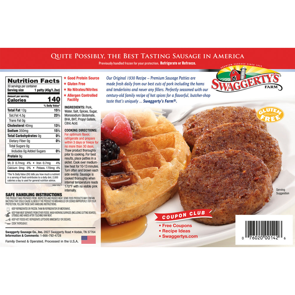 Premium Pork Sausage Patties<br>(Hot, 9 boxes)