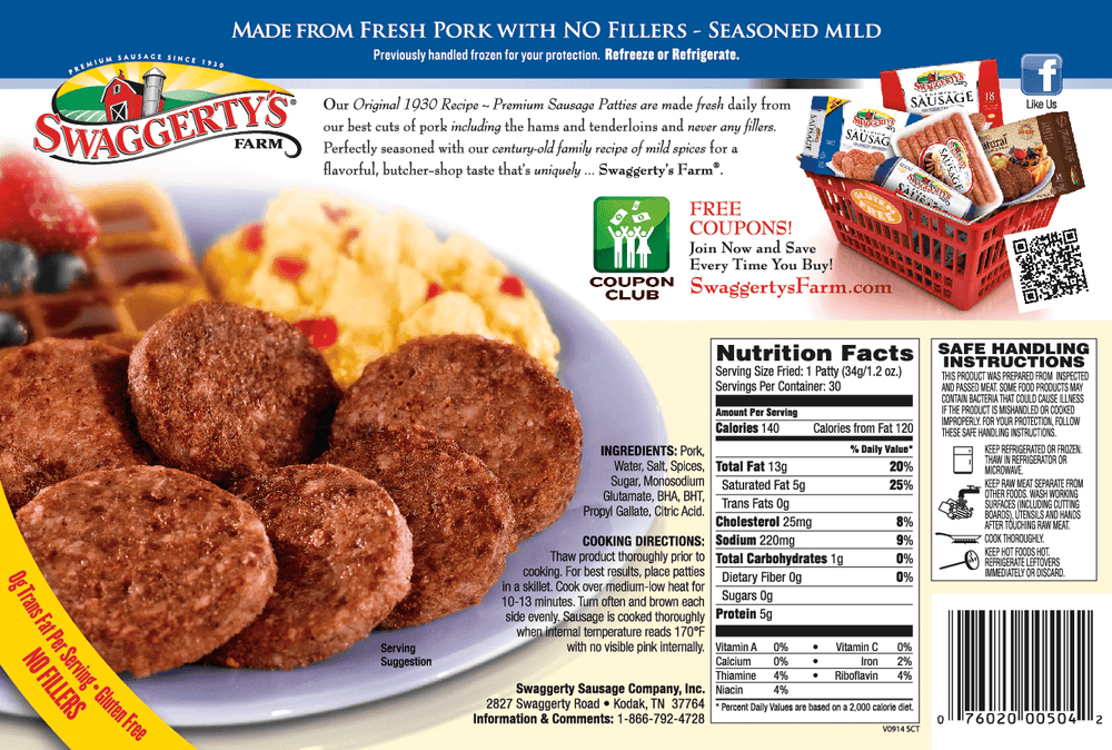 Swaggerty's Farm 45oz Premium Pork Sausage Patties (9pk) - Nutrition Facts