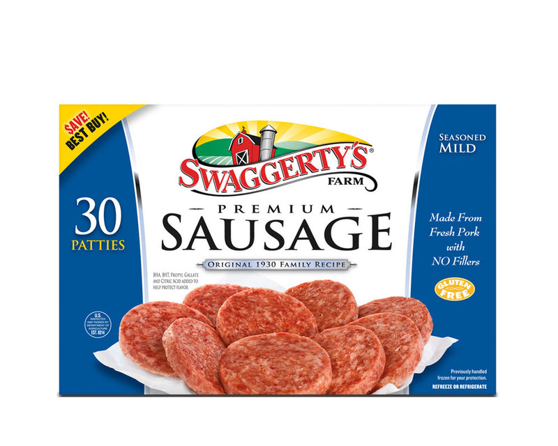 Premium Pork Sausage Patties<br>(Mild, 3 boxes)