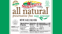 Swaggerty's Farm All Natural Sage Pork Sausage - Nutrition Facts