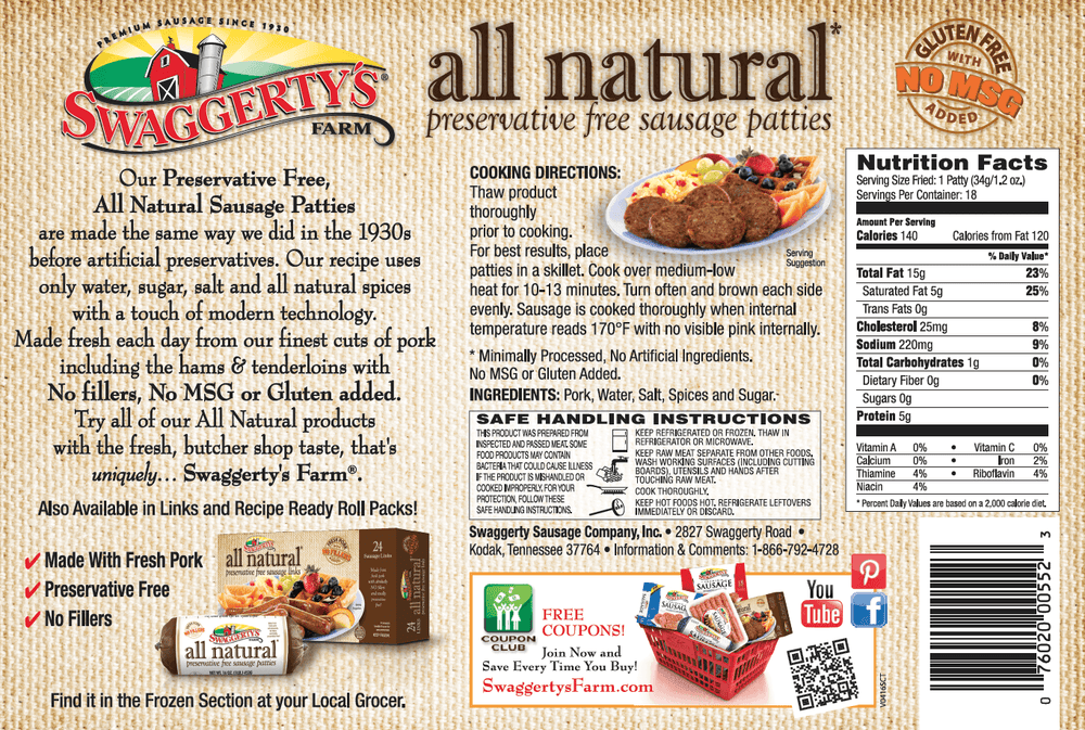All Natural Premium Pork Sausage Patties<br>(12 boxes)