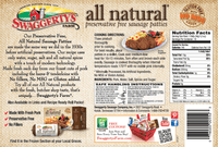 Swaggerty's Farm 27oz All Natural Pork Sausage Patties - Nutrition Facts