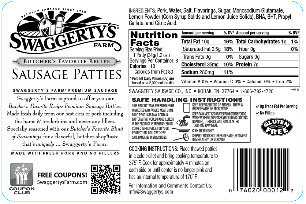 Swaggerty's Farm 12oz Pork Sausage Patties - Nutrition Facts