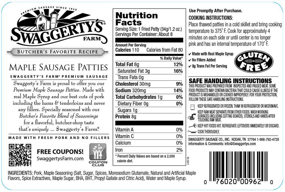 Swaggerty's Farm 12oz Maple Pork Sausage Patties - Nutrition Facts