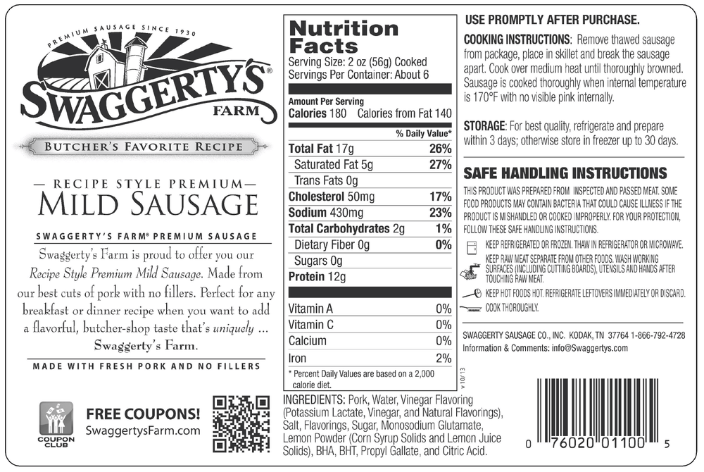 Swaggerty's Farm 16oz Mild Pork Sausage - Nutrition Facts